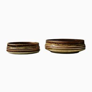 Cuencos de cerámica esmaltados en marrón de bambú de Olle Alberius para Rörstrand, años 60. Juego de 2