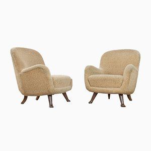 Danish Oak & Beige Teddy Fabric Lounge Chairs from Berga Mobler, 1940s, Set of 2