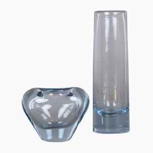 Jarrones daneses vintage de vidrio coloreado de Per Lütken para Holmegaard, 1966. Juego de 2