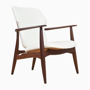 Teak and White Leather Armchair by Aksel Bender Madsen for Bovenkamp, 1960s