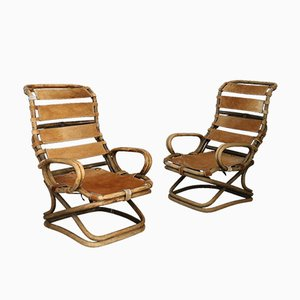 Italian Rattan and Horsehide Lounge Chairs by Tito Agnoli for Pierantonio Bonacina, 1959, Set of 2
