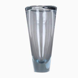 Jarrón vintage de vidrio azul de Per Lütken para Holmegaard