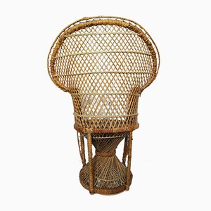 Vintage French Rattan and Wicker Childrens Peacock Chair, 1970s