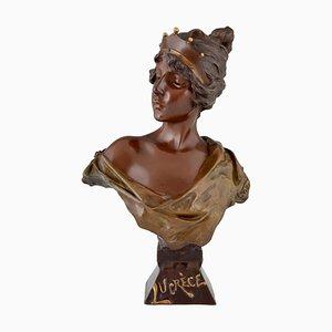 Antike französische Jugendstil Büste aus Bronze mit Krone von Emmanuel Villanis