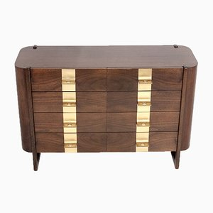 Mid-Century Spanish Wood & Brass Chest of Drawers by Jordi Vilanova, 1970s