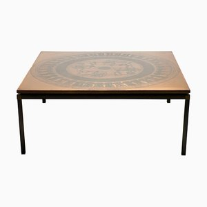 Danish Copper and Rosewood Coffee Table, 1970s
