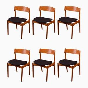 Dänische Esszimmerstühle von Erik Buch für Oddense Maskinsnedkeri / OD Møbler, 1950er, 6er Set