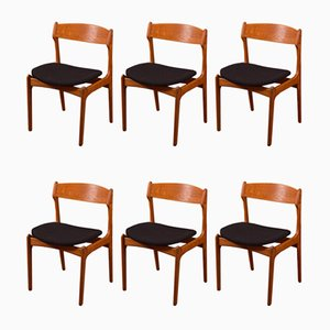 Danish Dining Chairs by Erik Buch for Oddense Maskinsnedkeri / O.D. Møbler, 1950s, Set of 6