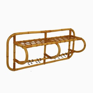 Mid-Century Rattan Wall Coat Rack from Rohé Noordwolde, 1950s