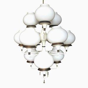 Lustre à 12 Éclairages en Verre Opalin par Hans-Agne Jakobsson, 1950s