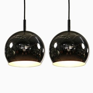 German Chrome Ceiling Lamps, 1970s, Set of 2
