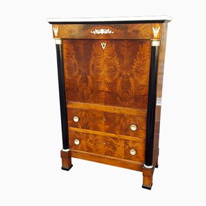 19th-Century French Empire Marble and Walnut Secretaire