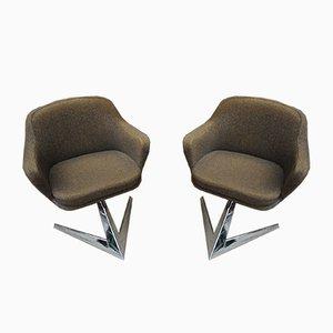 Französische Sessel aus Stoff & Metall von Jaques Adnet für Air France, 1960er, 2er Set