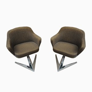French Fabric and Metal Lounge Chairs by Jaques Adnet for Air France, 1960s, Set of 2