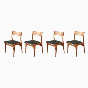 Chaises de Salle à Manger en Simili Cuir et Teck par Johannes Andersen, Danemark, 1960s, Set de 4
