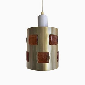 Swedish Glass and Metal Ceiling Lamp by Einar Backstrom & Erik Hoglund, 1970s