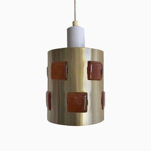 Swedish Glass and Metal Ceiling Lamp by Einar Backstrom & Erik Hoglund, 1970s
