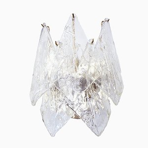 Large Mid-Century Italian Murano Glass and Metal Sconce, 1960s