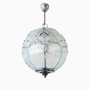 Italian Glass Chandelier by Zero Quattro for Fontana Arte, 1970s