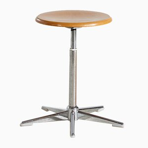Vintage Industrial Austrian Beech and Metal Stool, 1970s