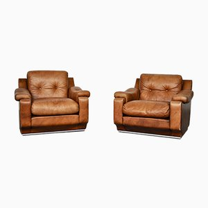 Vintage Italian Cow Leather Sofas, 1970s, Set of 2