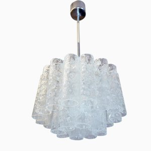 German Chrome & Frosted Glass Chandelier from Doria Leuchten, 1960s