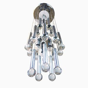 Italian Chrome and Crystal Chandelier by Gaetano Sciolari, 1970s