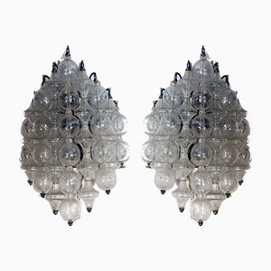 Applique in vetro e metallo laccato di J. T. Kalmar, anni '60, set di 2
