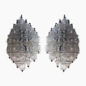 Wandlampen aus Glas & lackiertem Metall von JT Kalmar, 1960er, 2er Set