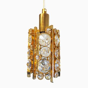 Small German Brass and Crystal Ceiling Lamp from Palwa, 1960s