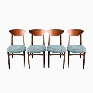 Dänische Ellipsen-Esszimmerstühle aus Teak, 1960er, 4er Set