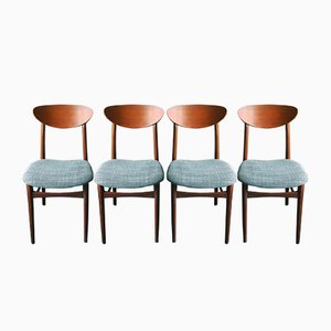 Danish Teak Ellipse-Back Dining Chairs, 1960s, Set of 4