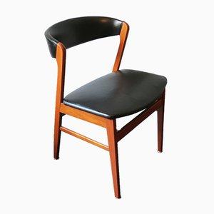 Chaise Mid-Century en Cuir Noir avec Dossier Courbé, Danemark, 1960s