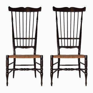 Italienische Mid-Century Buchenholz Chiavari Stühle mit Hoher Rückenlehne, 1950er, 2er Set