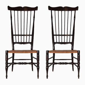 Italienische Mid-Century Chiavari Stühle aus Buchenholz mit hoher Rückenlehne, 1950er, 2er Set