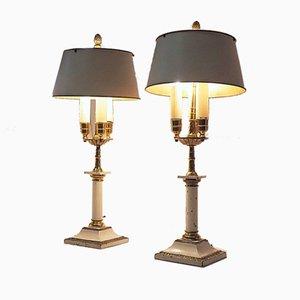 Louis XVI Bouillotte Tischlampen aus Metall, 19. Jh., 2er Set