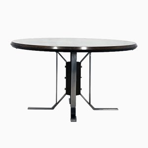 Round Mid-Century Walnut Dining Table with Nickel-Plated Feet by Jordi Vilanova