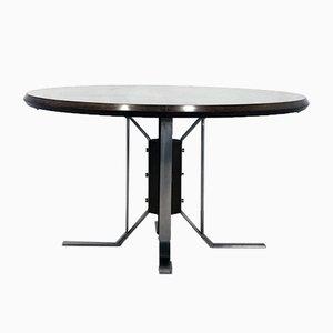 Round Mid-Century Walnut Dining Table with Nickel-Plated Feet by Jordi Vilanova