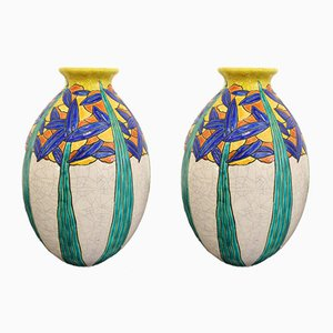 Art Deco French Earthenware Vases by Maurice Dufréne for Charles Catteau, 1924, Set of 2