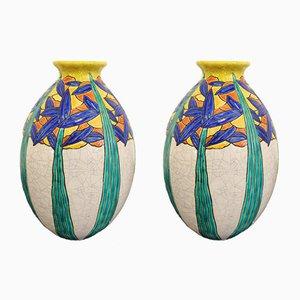 Vases Art Déco en Faïence par Maurice Dufrêne pour Charles Catteau, France, 1924, Set de 2