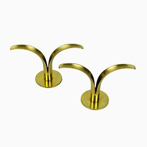 Vintage Swedish Brass Lilly Candleholders, Set of 2