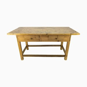 Mesa de comedor rústica vintage de pino del Báltico, años 30