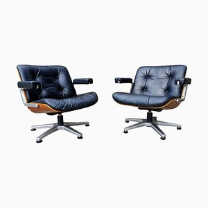 Black Leather & Walnut Lounge Chairs by Martin Stoll for Giroflex, 1960s, Set of 2