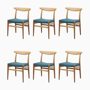 Chaises de Salle à Manger W2 en Chêne par Hans J. Wegner pour CM Madsen, Danemark, 1950s, Set de 6
