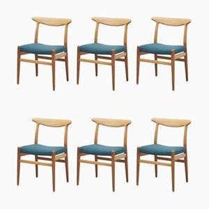Dänische W2 Esszimmerstühle aus Eiche von Hans J. Wegner für CM Madsen, 1950er, 6er Set