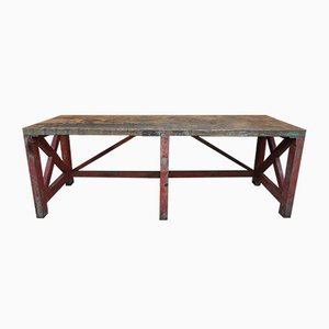 Large Vintage Industrial French Fir Workshop Table, 1930s