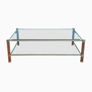 French Aluminum & Glass Coffee Table by Pierre Vandel, 1970s