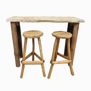 Mid-Century French Fir Bar Table & 2 Stools, 1960s