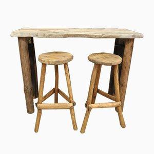 Tavolino Mid-Century con due sgabelli, Francia, anni '60