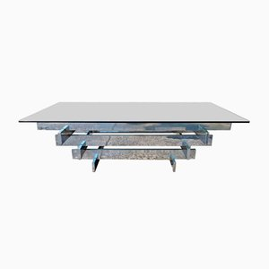 Italian Chrome Plating and Glass Coffee Table by David Hicks, 1971